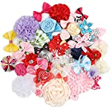 YAKA 50Pcs Mix Bulk Flowers Bows Craft DIY...