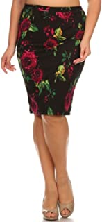 Women's Floral Printed High Waist Fitted Pencil Skirt