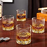 Scales of Justice Personalized Buckman Whiskey Glasses for Lawyers, Set of 4 (Custom Product)