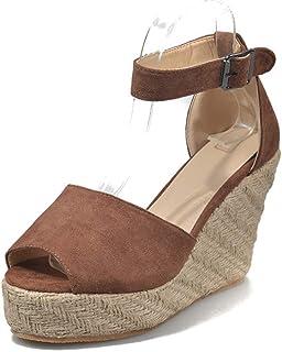 Peep Toe Wedges Hasp Sandals, Flatform Platform T-Straps Summer Shoes Casual Beach Ankle Strap Sandals,B,35
