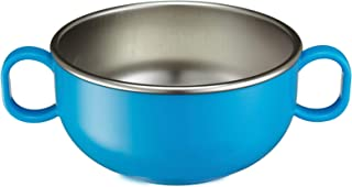 Innobaby Din Din Smart Stainless Steel 11 oz Feeding Bowl with Handles for Babies, Toddlers and Kids. BPA Free, Blue