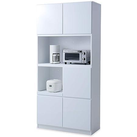 LOWYA ロウヤ 食器棚 壁面収納 可動棚 キッチン収納 高さ190×幅90cm ホワイト