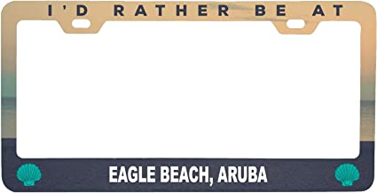 R and R Imports Eagle Beach Aruba Sea Shell Design Souvenir Metal License Plate Frame