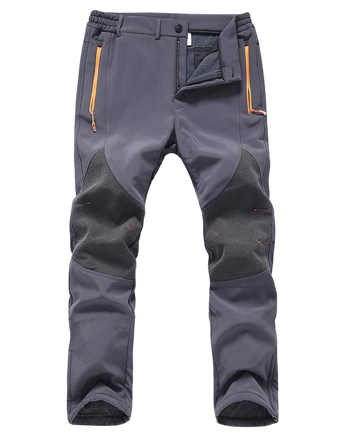 Gash Hao Mens Snow Ski Waterproof Softshell Pants Outdoor Hiking Fleece Lined Zipper Bottom Leg