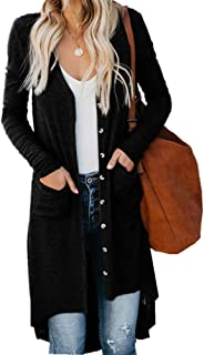 Yi shang Womens Button Down Knitwear Long Sleeve Soft Basic Knit Cardigan Sweater with Pockets