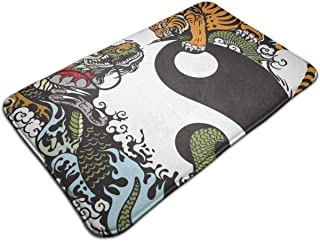 Dragon Tiger Tai Chi Bath Mat Non Slip Absorbent Super Cozy Flannel Bathroom Rug Carpet Large Size 19.5