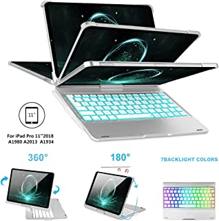 iPad Pro 11 Case for iPad Pro 11 inch 2018 with Keyboard & Pencil Holder,[Support Pencil Charging], 7 Colors Backlight, 360° Rotatable, Wireless Buletooth Connect, iPad Pro Keyboard 11, Silver