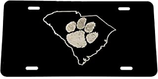 Diamond Etched Clemson Paw in SC Outline Logo Car Tag on Aluminum License Plate