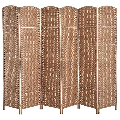 HOMCOM 6' 6 Panel Wicker Weave Room Divider Privacy Screen - Natural Blonde Wood