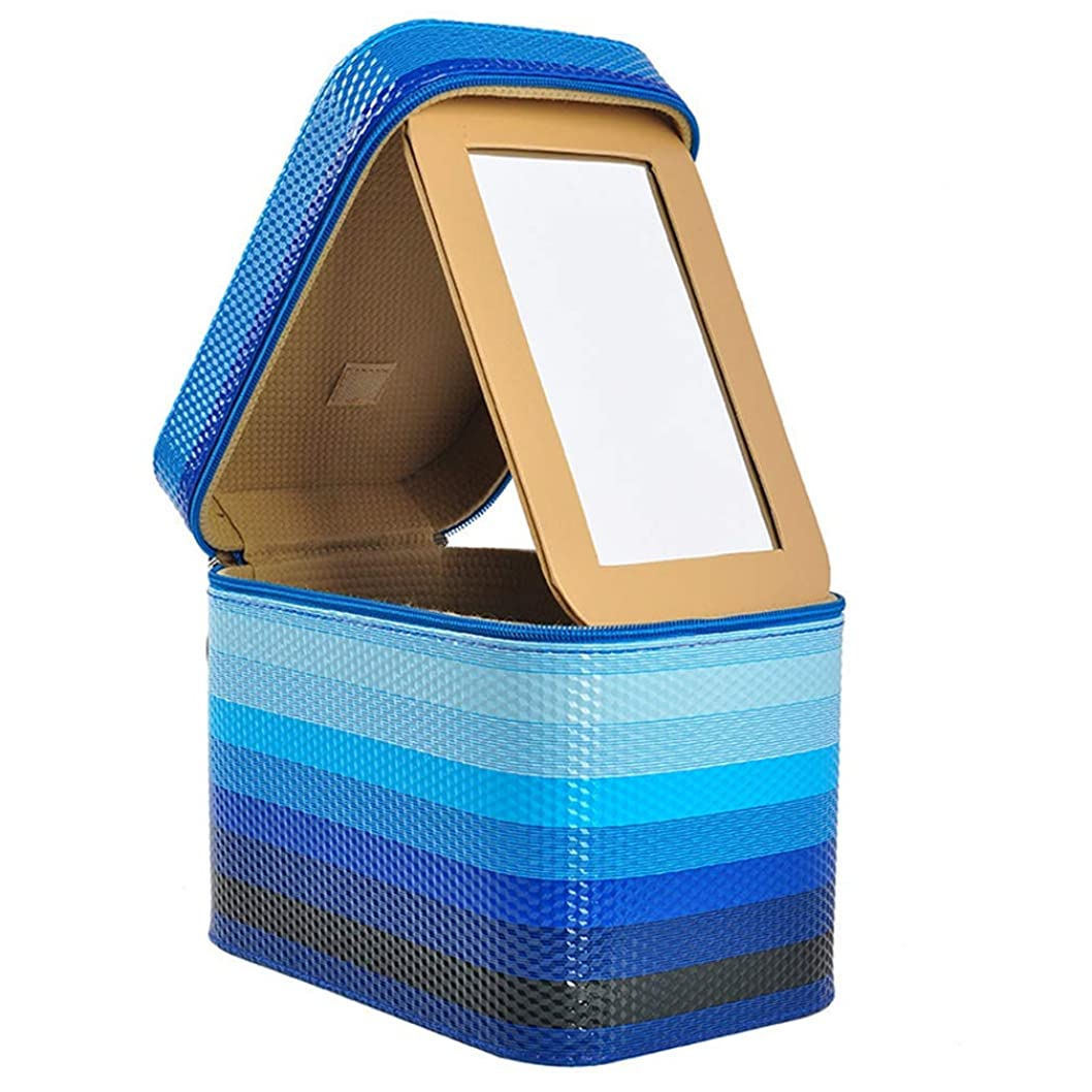 安定泳ぐまっすぐにする[スンル]メイクボックス コスメボックス 収納ボックス 化粧品収納 化粧ポーチ メイクポーチ 鏡付き おしゃれ 小物入れ 大容量 取っ手付 携帯に便利 機能的 自宅/出張/旅行/アウトドア/撮影 化粧箱
