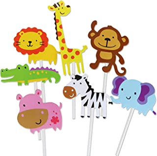 Mandyu New Released Cute Creatures Cupcake Picks, Animal Friends Toppers, Kids Woodland Theme Baby Shower Birthday Party C...