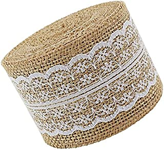 UUsave 4meters Burlap Ribbon Roll White Lace Natural Burlap Craft Fabric Ribbon Trims Tape Rolls for Wedding Decorations Lace Arts and Crafts Jute for DIY (156 in2.3 in)