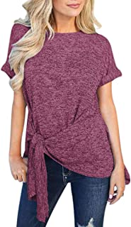 Fon ALLey Women's Casual Short Sleeve Knot Tie Front Loose Fit Tunic Tops T-Shirt Blouses