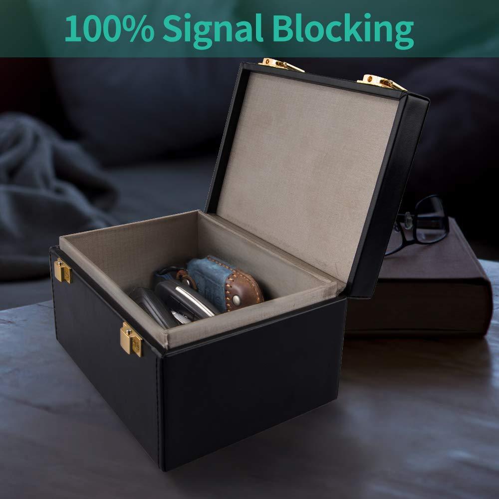 TOOGOO Caja de Bloqueo de Se?Al Sin Llave RFID Caja Faraday para Llaves de Coche,con Bolsa de Mano de Cuero de PU 2 Piezas,De Se?Al de Coche Caja Fuerte,Llavero Coche Sin Llave