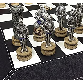 HPL Medieval Times Armored Warrior Knights Gold /& Silver Chess Set w// 17 Castle Fortress Board