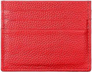 Hibate (Rojo) Mini Cuero FRID Tarjetero Fundas para Tarjetas de Crédito Cartera Hombre Mujer Señoras Niña Niño Piel Billetera