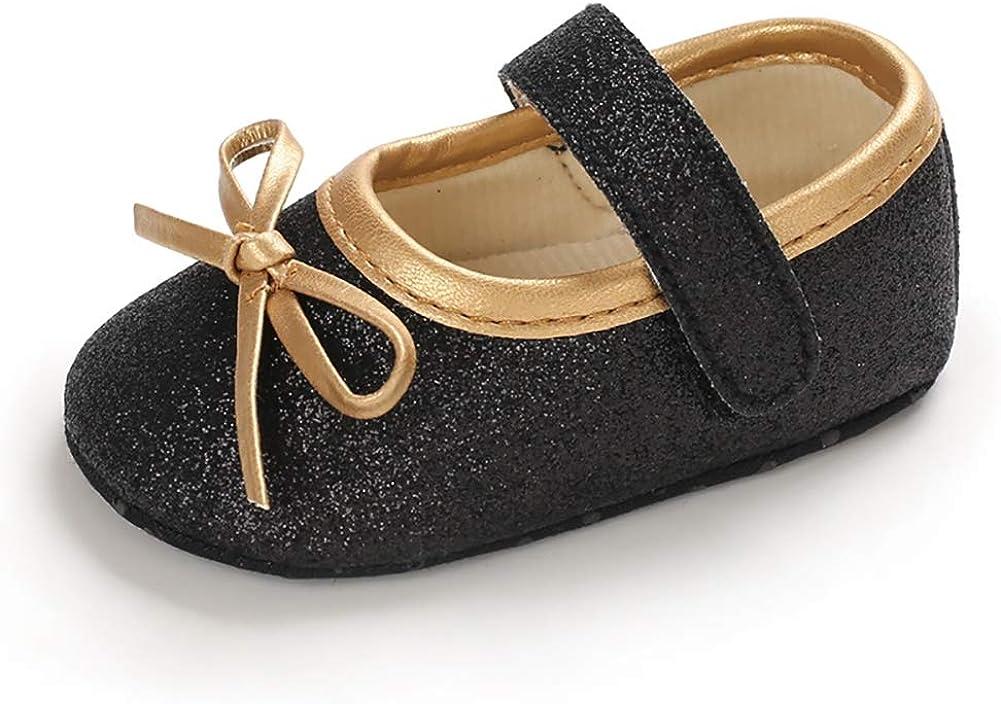 Meeshine Baby Girls Mary Jane Flats Toddler Infant Bowknot Non-Slip Princess Dress Ballerina Shoe