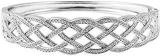 Diamond Silvertone Weaved Bangle Cuff Bracelet Jewelry 7