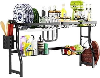 JPL Étagère de rangement de cuisine domestique, support de vaisselle, sur le support de séchage de plat d'évier, noir 304 ...