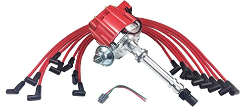 A-Team Performance HEI Distributor Red Cap and 8mm Spark Plug Wires Over Valve Cover Set Compatible with SBC Small Block Chevy Chevrolet 283 350