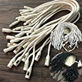 150PCS Hang Tag String Rope with Snap Lock Pin Loop Fastener Hook Ties for Clothes Gift Bags Price Tags Shoes Tag Rope for Belts Pocket Luggage Label Attachment (Black+White+Creamy+White)