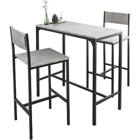 SoBuy OGT03-HG Ensemble Table de Bar + 2 Chaises Set de 1 Table + 2 Tabouret Haut de Bar Table Haute Cuisine Salle à Manger Bistrot