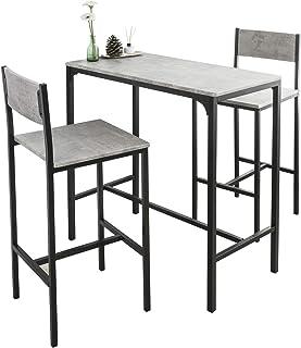SoBuy OGT03-HG Ensemble Table de Bar + 2 Chaises Set de 1 Table + 2 Tabouret Haut de Bar Table Haute Cuisine Salle à Mange...