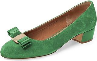7860596ed9e28 FSJ Women Comfy Round Toe Block Low Heel Pumps Bowknot Slip On Formal  Office Dress Shoes