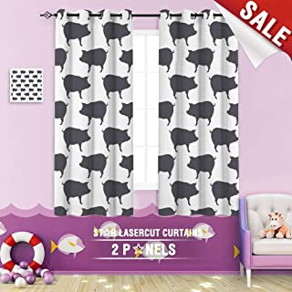 Big datastore home Blackout Curtain, Pig Abstract Animal Background Bacon Black Boar Butcher Shop Collection Contour 63 x 72 inch Grommet Curtains Kids Bedroom,