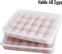 HOKIPO Plastic Egg Tray for Fridge with Lid for 4 Dozen 48 Eggs(White, 31.5x4.5x23cm) (AR1094)