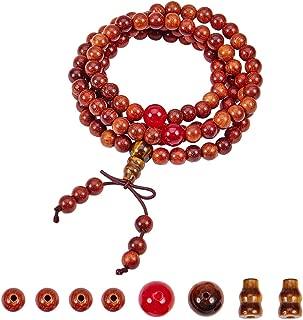 SUNNYCLUE 1 Bag DIY 108 6mm Natural Wood Mala Beads Buddhist Buddha Meditation Rosary Prayer Beaded Bracelet Link Wrist Necklace Making Kit for Men Women, Elastic, Coconutbrown