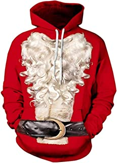 Couple Lovely Unisex 3D Santa Print Kangaroo Pocket Christmas Sweatshirt Hoodie Pullover
