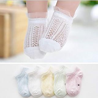 5Pares Calcetines con Volante de Encaje para Bebés Calcetines de Algodón de Malla Respirable Encantador Vistoso Calcetines Cortos de Niño Recién Nacido con Volantes de Volantes
