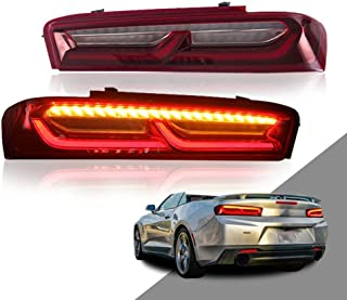 MOSTPLUS LED Red Clear Tail Lights For 2016 2017 2018 Chevrolet Camaro Chevy Rear Lamps w/Sequential Turn Light