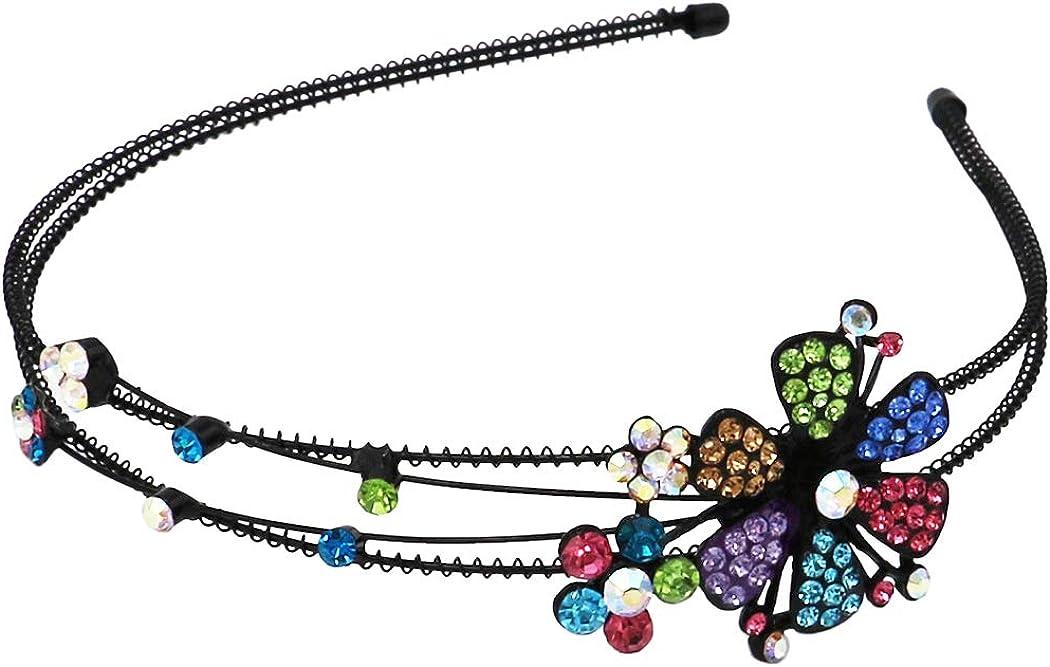 Rosemarie & Jubalee Women's Stunning Detailed Split Double Row Flowers Crystal Rhinestone Statement Fashion Headband