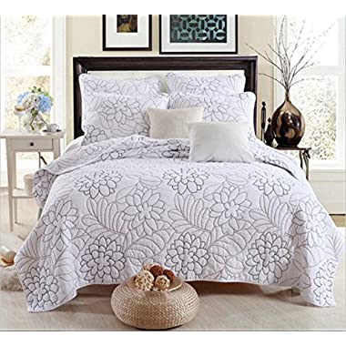Jameswish Cotton Floral 3-Piece Quilt Sets Shylock Triangle Reactive Printing Coverlet Bedspread Multifunctional Decorative Reversible Comforter 1Quilt 2Pillowshames King Size(90x106inch)