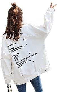 Howely Women's Destroyed Plus-Size Embroidered Boyfriend Denim Jacket Outwear