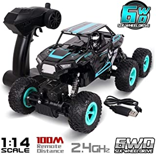 SZJJX 6WD RC Cars, Remote Control Off-Road Climbing Truck, 1/14 Scale High Speed Vehicle, 2.4Ghz Electric Radio Controlled Rock Crawler, All-Terrain RTR Buggy Blue