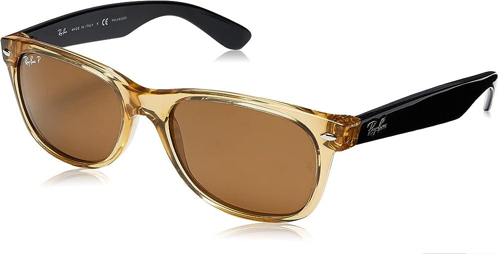 Ray-ban new wayfarer, occhiali da sole, unisex, lenti di cristallo con rivestimento anti-riflesso, marrone sfu 0RB2132C 0RB2132B