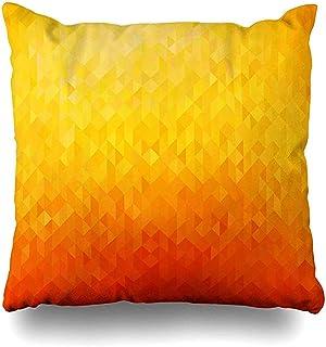 Snbin Funda de Almohada Funda de Almohada Creatividad Amarillo Abstracto Naranja Color Geométrico Azulejo Triángulo Moderno Brillante Funda de cojín Limpio