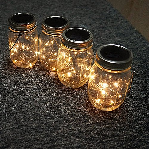 Solar Tarro Mason Luces, LED Impermeable Cristal Exterior Guirnalda Luces Oara Exterior, Decoración para el Hogar, Fiesta, Jardín, Boda - Blanco cálido, Free Size