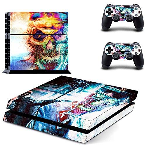 H HILABEE Skin Aufkleber Cover Für PS4 Playstation 4 Konsole und Controller Aufkleber Set - Farbige Schädel