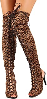 99ee399df4062 Breckelle s Womens Randi-23 Faux Suede Lace up Back Thigh High Boots