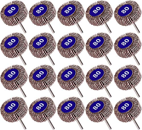 Winfred 20 Pack Grano 80 Lijadoras de Laminillas para Taladradoras, Rueda Lijadora de Abanico para Metal Madera