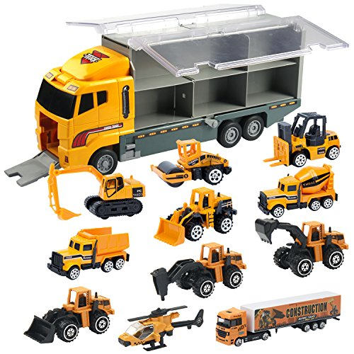 Oumoda 11 in 1 Transport Car, Die-cast Construction Truck Vehicle Car Toy Set Play Vehicles in Carrier Truck, Vehicles Toys Gifts for Age 6 + Years Old Kids, Boys and Girls
