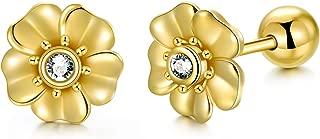 14k Yellow Gold Flower Earrings Screw Back, Double Sided Studs for Women