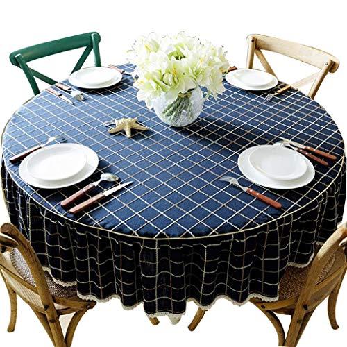 QI Nappe Ronde Style Campagne Nordique en Tissu pour décoration de la Maison, dîner, Pique-Nique, Bleu, 100 cm