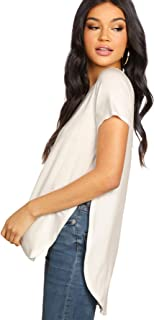 Women's Summer V Neck Short Sleeve High Low Loose T-Shirt with Side Split