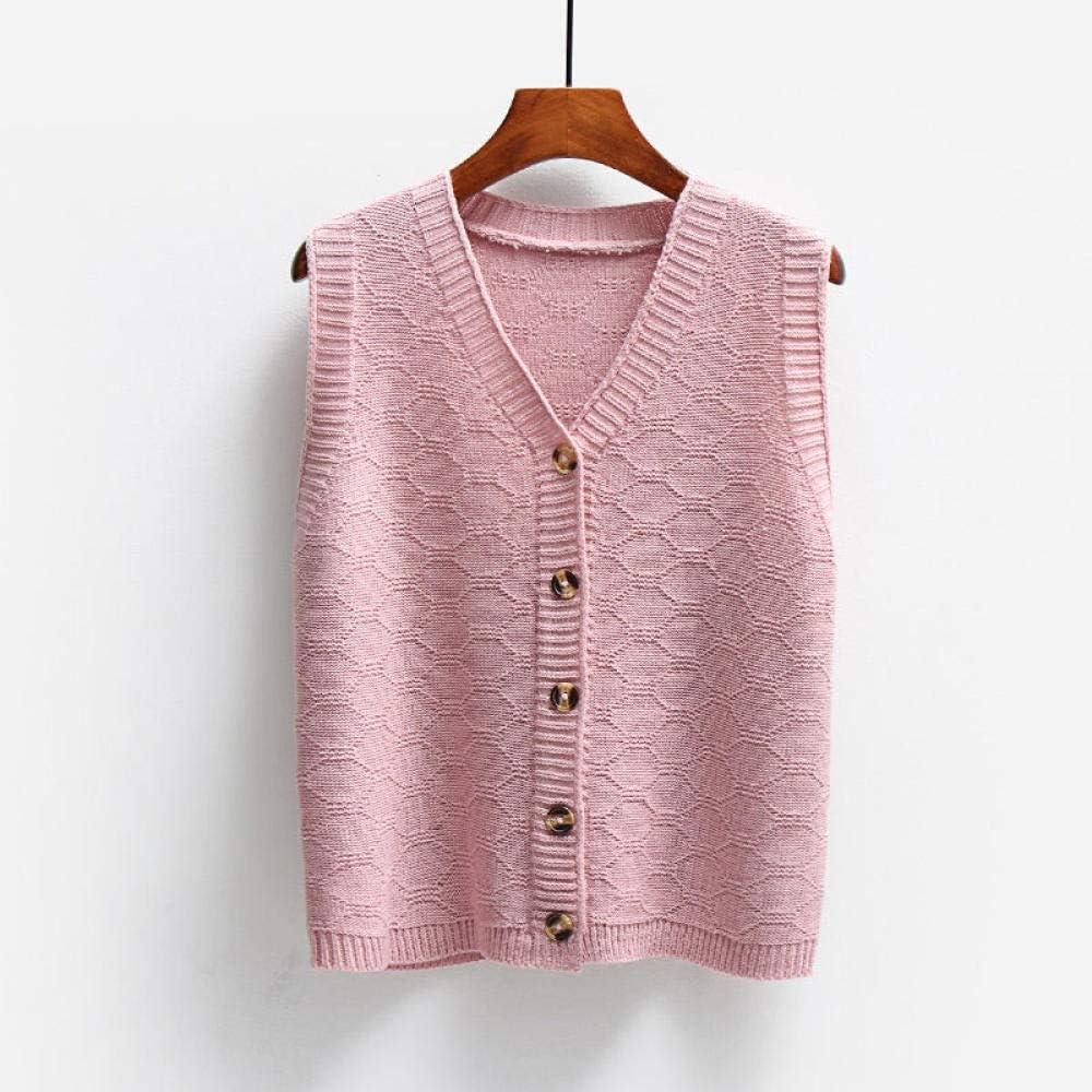 LIYDENG V-Neck Knitted Button Sweater Vest Women Loose Single Block Lattice Sweater Vest (Color : C, Size : One Size)