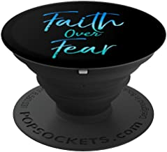 Faith Over Fear PopSocket Grip Blue Watercolor Design - PopSockets Grip and Stand for Phones and Tablets
